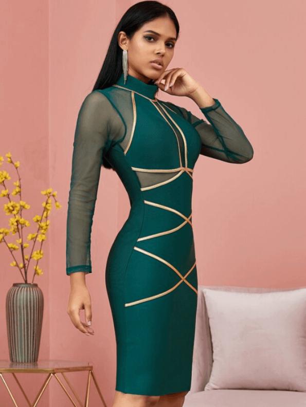Secret Wish Boutique Sukienka Bandażowa Zielona Koktajlowa z Długim Rekawem Mini_03