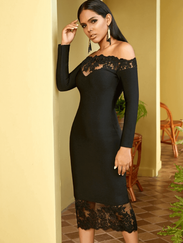 Secret Wish Boutique Sukienka Czarna Bandażowa z Koronką z Długim Rękawem Midi