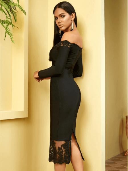 Sukienka Czarna Bandażowa z Koronką z Długim Rękawem Midi