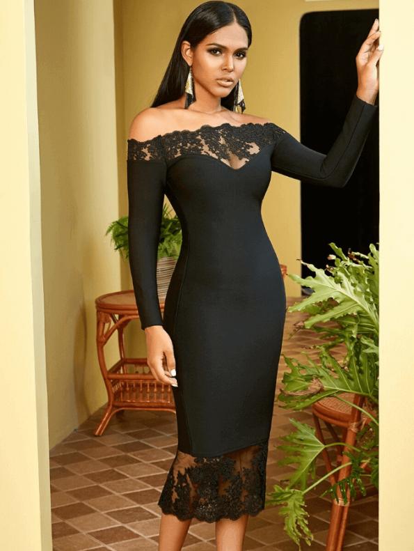Secret Wish Boutique Sukienka Czarna Bandażowa z Koronką z Długim Rękawem Midi_03