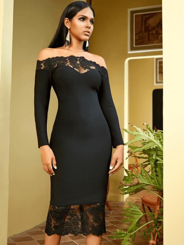 Secret Wish Boutique Sukienka Czarna Bandażowa z Koronką z Długim Rękawem Midi_05