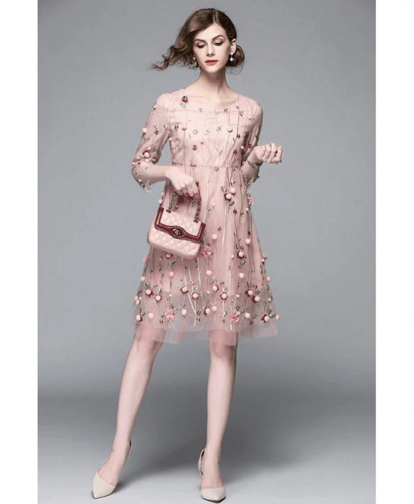 Secret Wish Boutique Sukienka Pudrowy Róż w Kwiaty Rękawy 3_4 Mini (1)