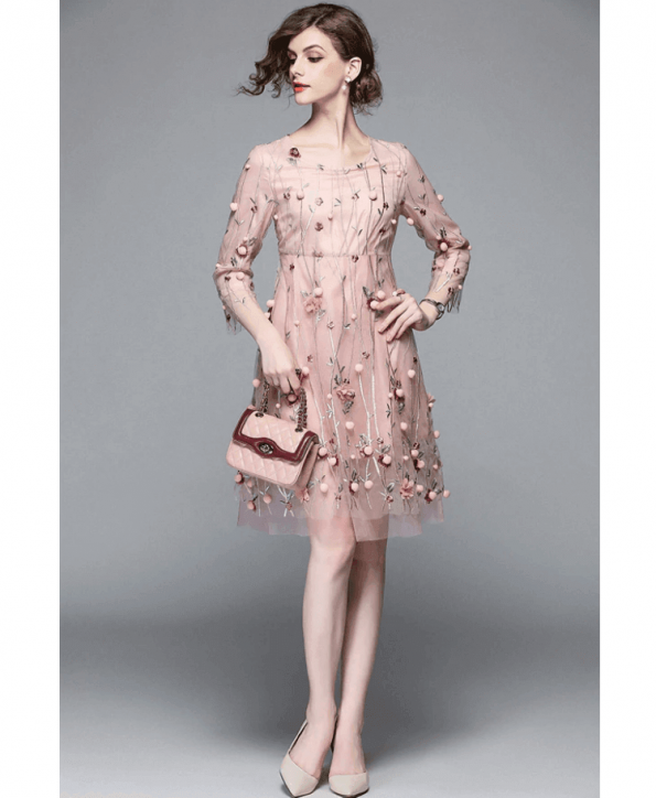 Secret Wish Boutique Sukienka Pudrowy Róż w Kwiaty Rękawy 3_4 Mini (2)