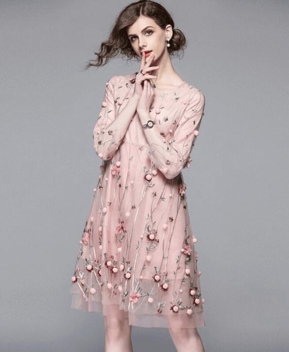 Secret Wish Boutique Sukienka Pudrowy Róż w Kwiaty Rękawy 3_4 Mini (3)