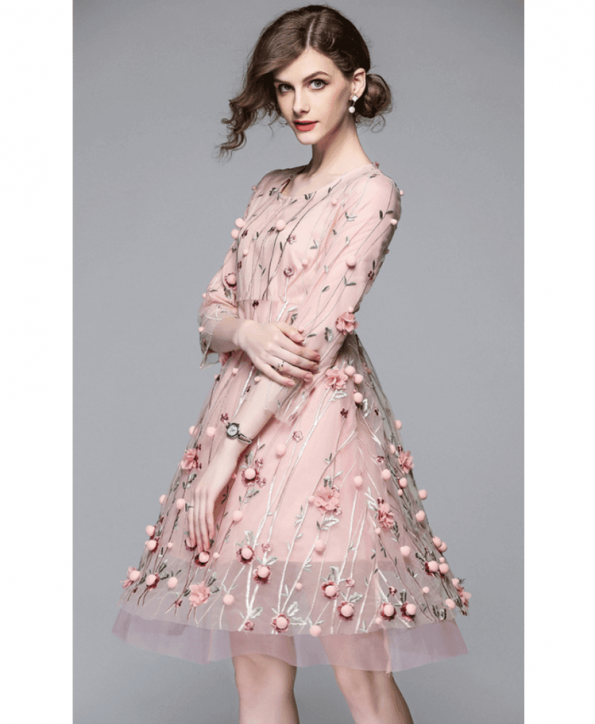 Sukienka Pudrowy Róż w Kwiaty Rękawy 3_4 Mini