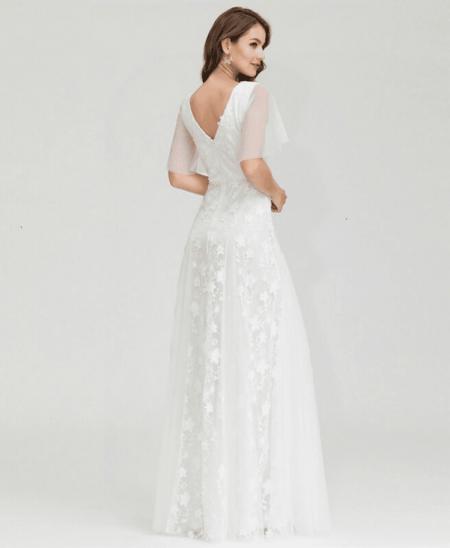 Suknia Ślubna Tiulowa z Haftami z Krótkim Rękawem Maxi