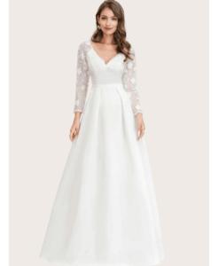Suknia Ślubna z Koronkowymi Rękawami Maxi