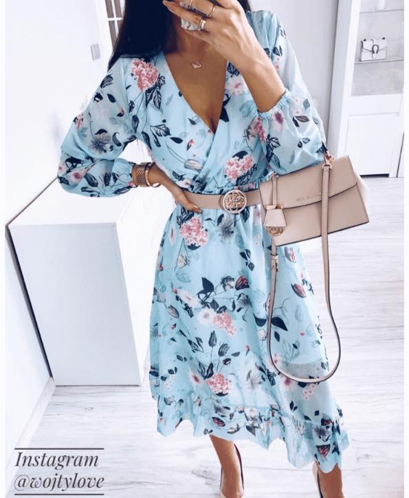 Secret Wish Boutique Sukienka Błękitna w Kwiaty z Długim Rękawem Mini (1)
