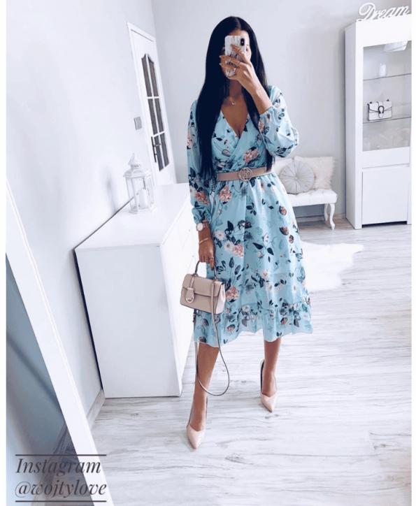 Secret Wish Boutique Sukienka Błękitna w Kwiaty z Długim Rękawem Mini (3)