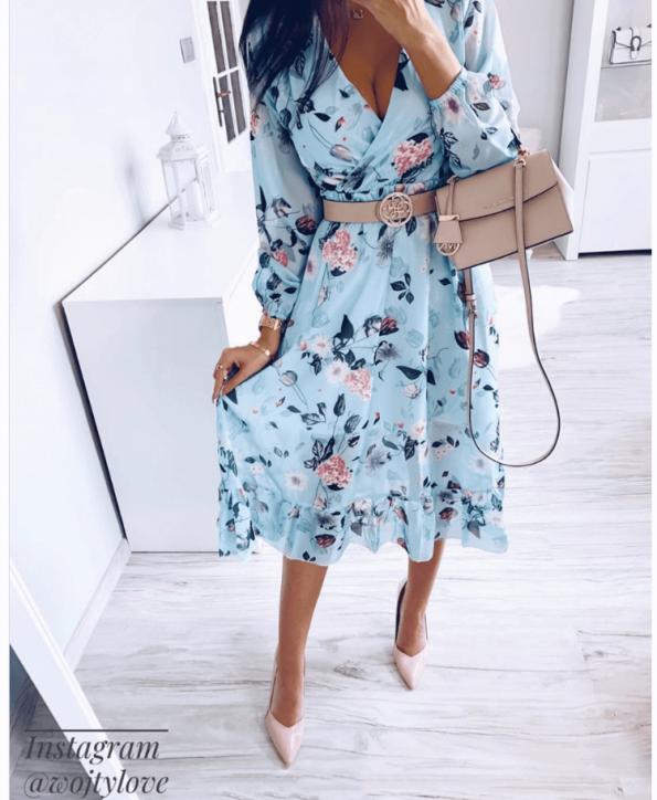 Secret Wish Boutique Sukienka Błękitna w Kwiaty z Długim Rękawem Mini (4)