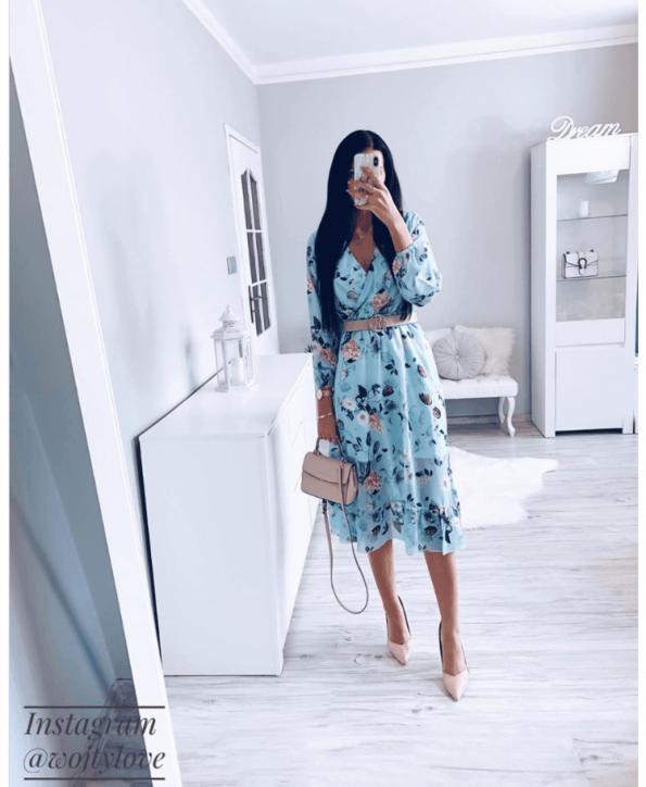 Secret Wish Boutique Sukienka Błękitna w Kwiaty z Długim Rękawem Mini (5)