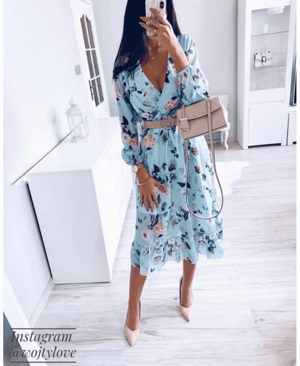 Secret Wish Boutique Sukienka Błękitna w Kwiaty z Długim Rękawem Mini