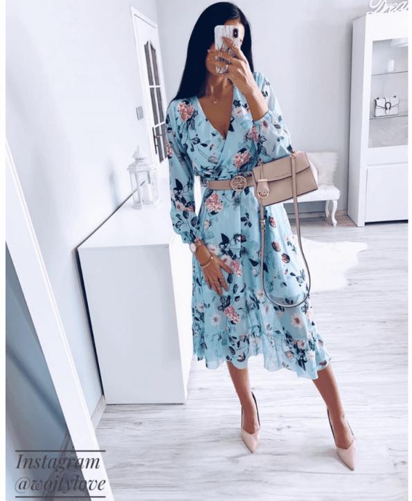 Secret Wish Boutique Sukienka Błękitna w Kwiaty z Długim Rękawem Mini (6)