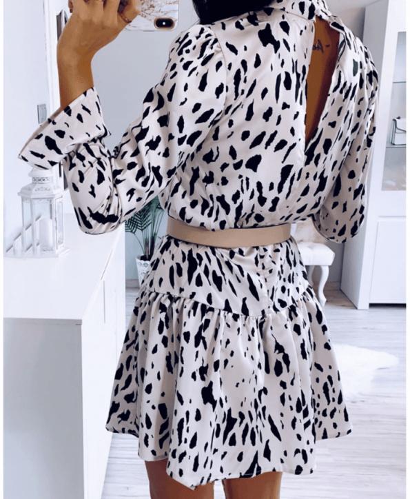 Secret Wish Boutique Sukienka Kremowa w Czarne Kropki z Długim Rękawem Mini (1)