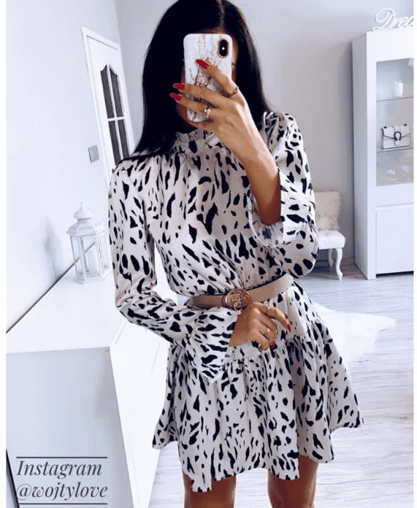 Secret Wish Boutique Sukienka Kremowa w Czarne Kropki z Długim Rękawem Mini