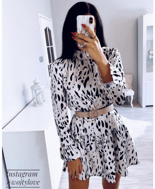 Secret Wish Boutique Sukienka Kremowa w Czarne Kropki z Długim Rękawem Mini (6)