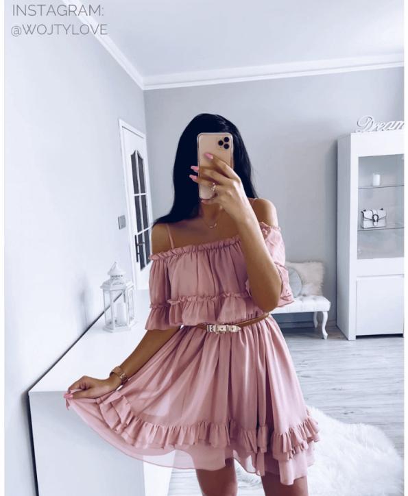 Secret Wish Boutique Sukienka Pudrowy Róż z Falbankami na Ramiączkach Mini (1)