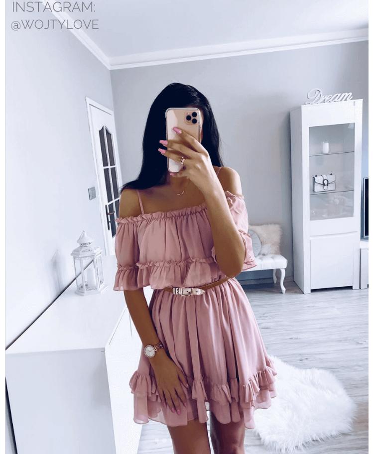 Rozowa Sukienka Z Falbankami Secret Wish Boutique 3