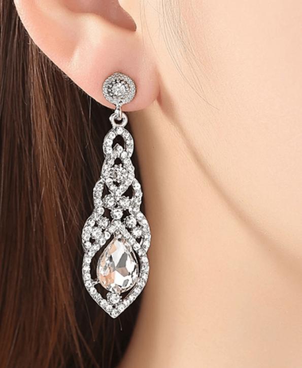 Secret Wish Boutique Biżuteria Kolczyki Kryształowe Długie Zdobione Wkładane (2)