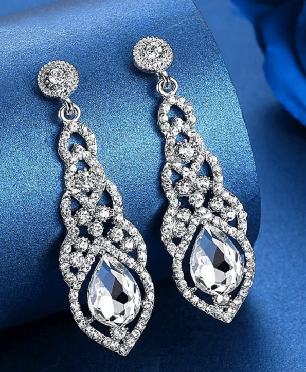 Secret Wish Boutique Biżuteria Kolczyki Kryształowe Długie Zdobione Wkładane