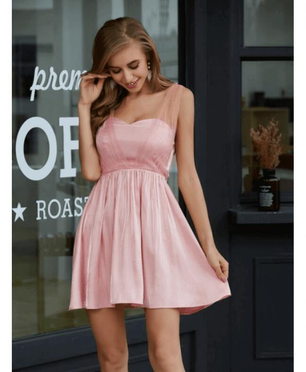 Secret Wish Boutique Sukienka Pudrowy Róż Rozkloszowana Bez Rękawów Mini (1)