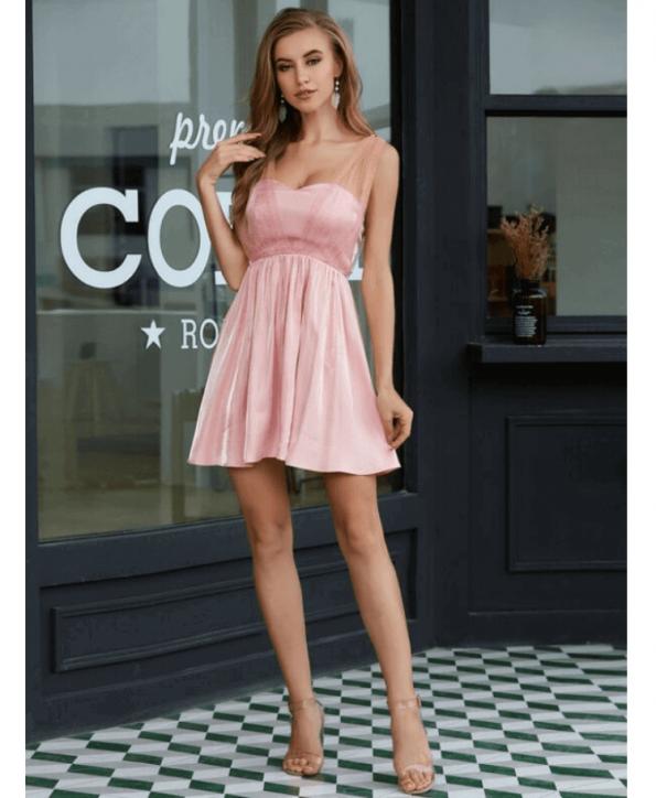Secret Wish Boutique Sukienka Pudrowy Róż Rozkloszowana Bez Rękawów Mini (2)