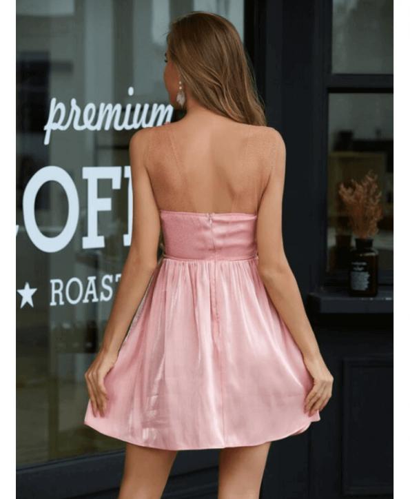 Secret Wish Boutique Sukienka Pudrowy Róż Rozkloszowana Bez Rękawów Mini (3)