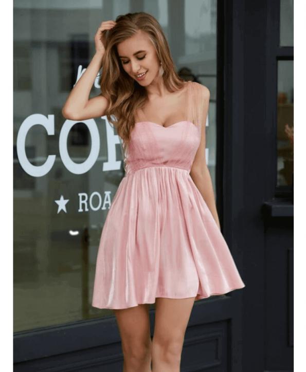 Secret Wish Boutique Sukienka Pudrowy Róż Rozkloszowana Bez Rękawów Mini (4)