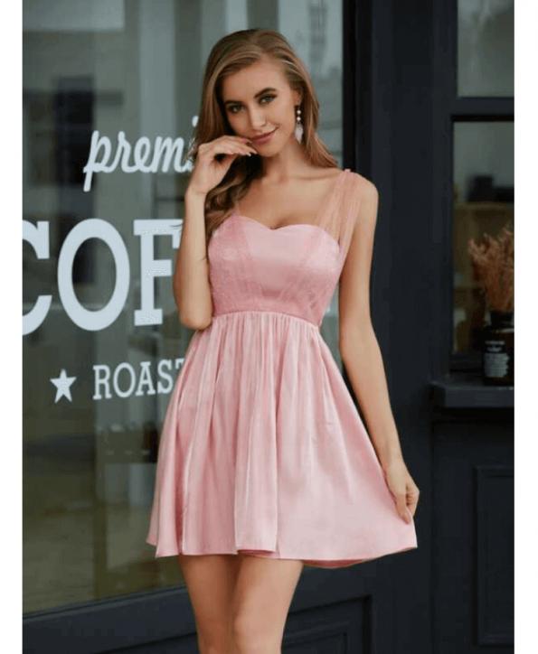 Secret Wish Boutique Sukienka Pudrowy Róż Rozkloszowana Bez Rękawów Mini