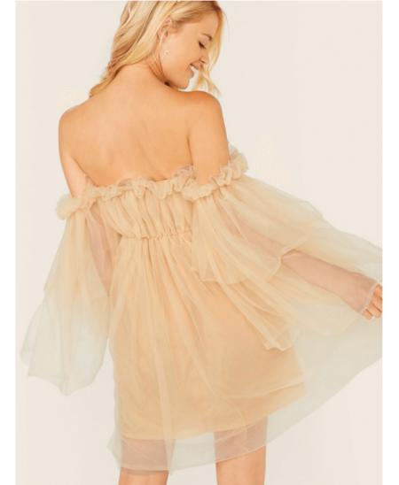 Parme Sukienka Beżowa Tiulowa