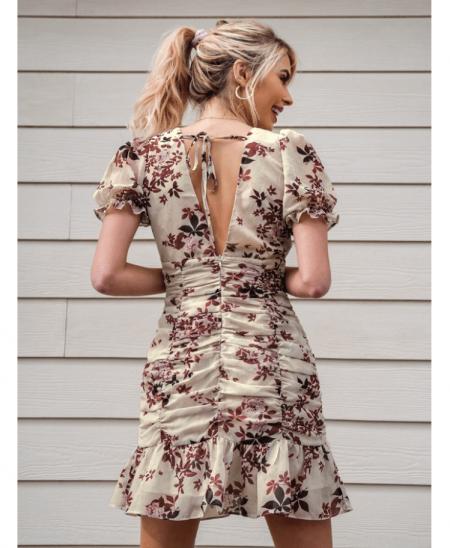 Zeritta Sukienka Beżowa Kwiaty