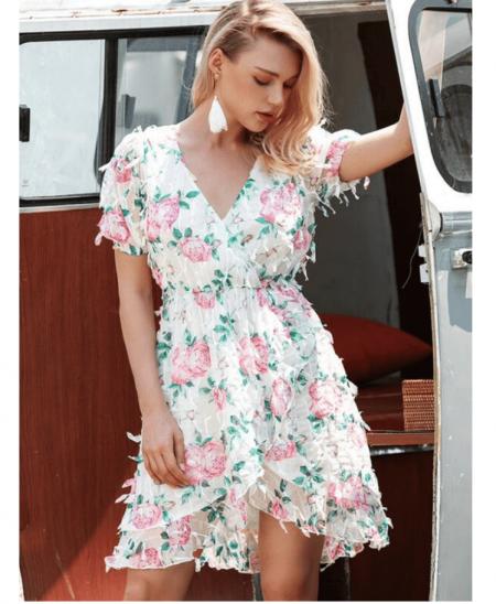 Callia Sukienka Biała Kwiaty
