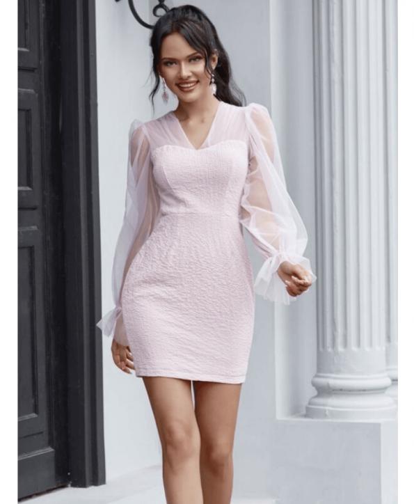 Secret Wish Boutique Sukienka Koktajlowa Pudrowy Róż z Długim Rękawem Mini Przed Kolano (2)