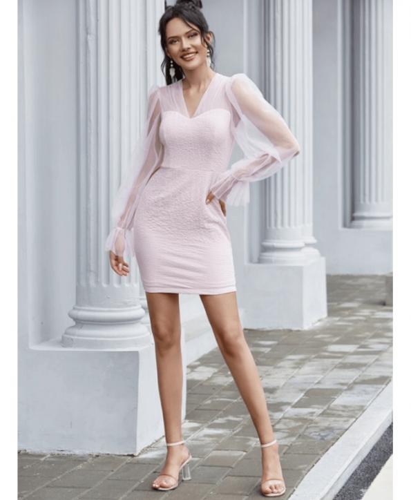 Secret Wish Boutique Sukienka Koktajlowa Pudrowy Róż z Długim Rękawem Mini Przed Kolano (5)