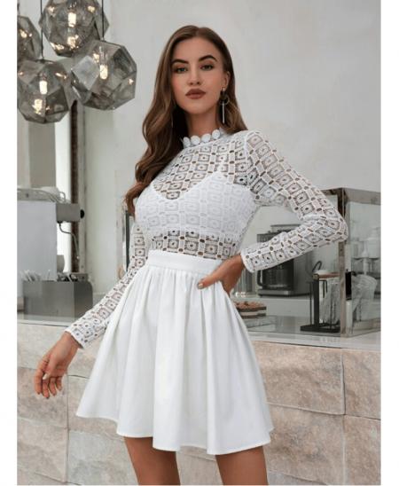 Balleny Sukienka Koronkowa Biała