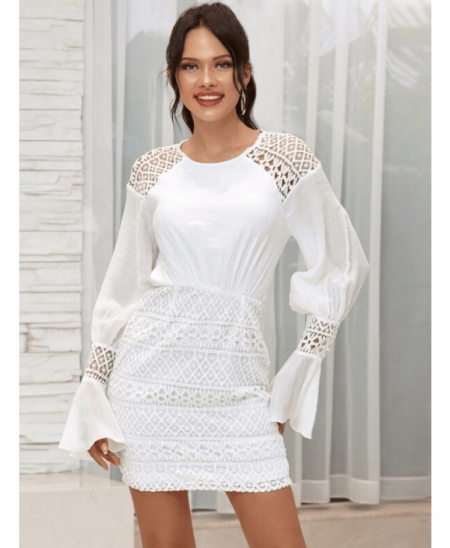 Monnamy Sukienka Koronkowa Biała