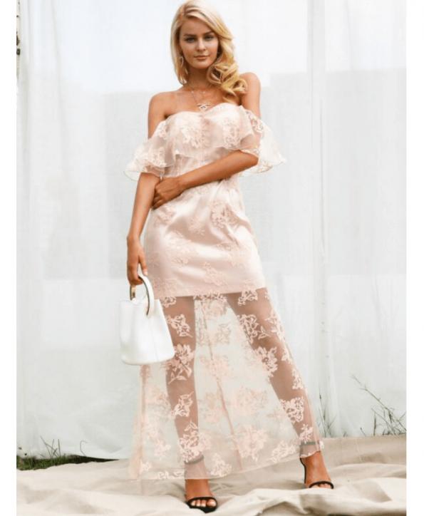Secret Wish Boutique Sukienka Koronkowa Pudrowy Róż Hiszpanka Długa Maxi (1)