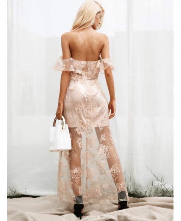 Secret Wish Boutique Sukienka Koronkowa Pudrowy Róż Hiszpanka Długa Maxi (2)