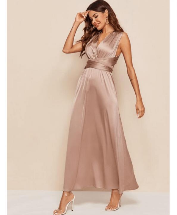 Secret Wish Boutique Sukienka Satynowa Cappuccino Beżowa Bez Rękawów Maxi do Kostek (1)
