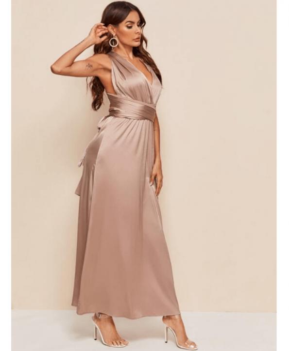 Secret Wish Boutique Sukienka Satynowa Cappuccino Beżowa Bez Rękawów Maxi do Kostek (2)