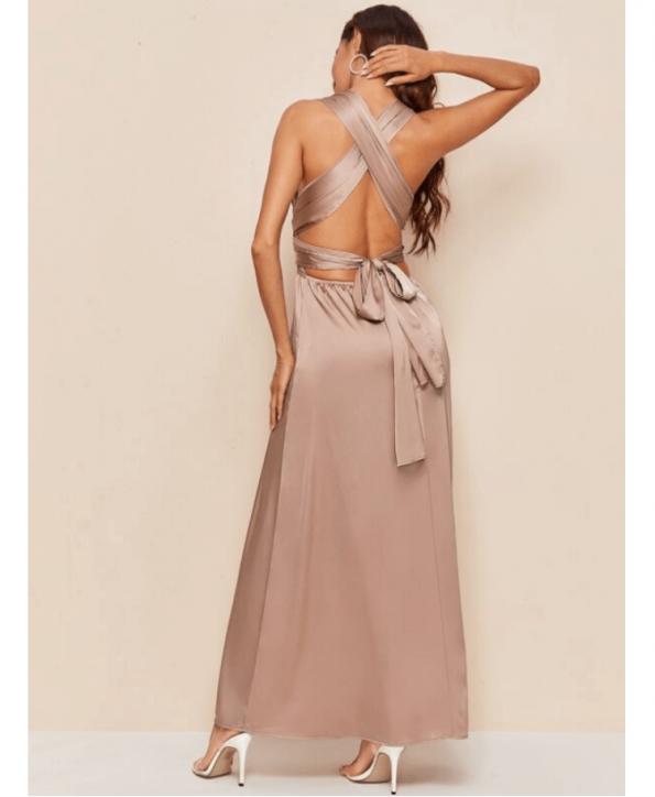 Secret Wish Boutique Sukienka Satynowa Cappuccino Beżowa Bez Rękawów Maxi do Kostek (4)