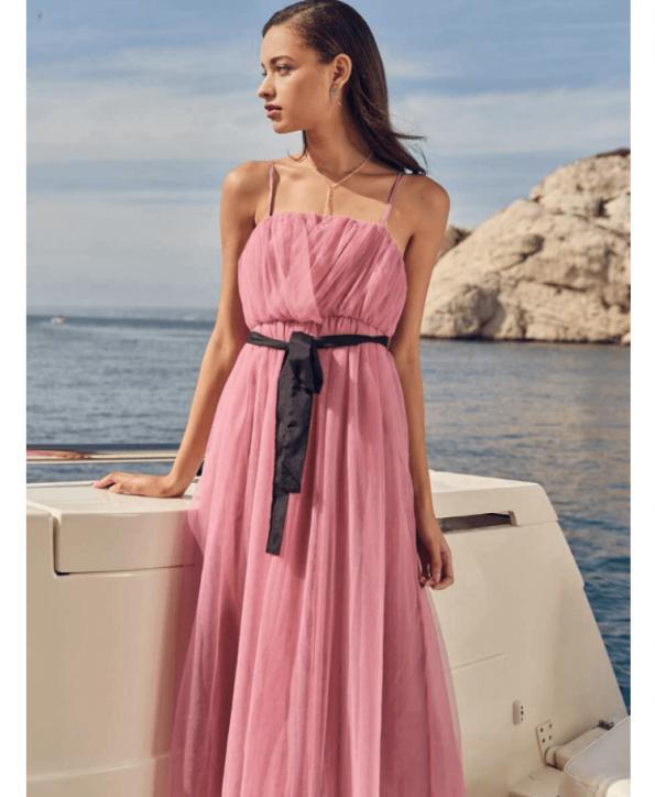 Secret Wish Boutique Sukienka Tiulowa Pudrowy Róż na Ramiączkach Midi za Kolano (4)