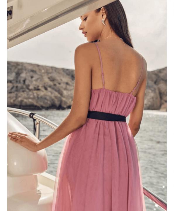Secret Wish Boutique Sukienka Tiulowa Pudrowy Róż na Ramiączkach Midi za Kolano (5)