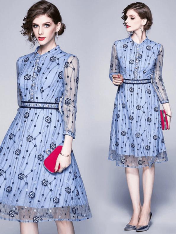 Secret Wish Boutique Sukienka Błękitna Niebieska w Hafty z Długim Rękawem Midi (3)