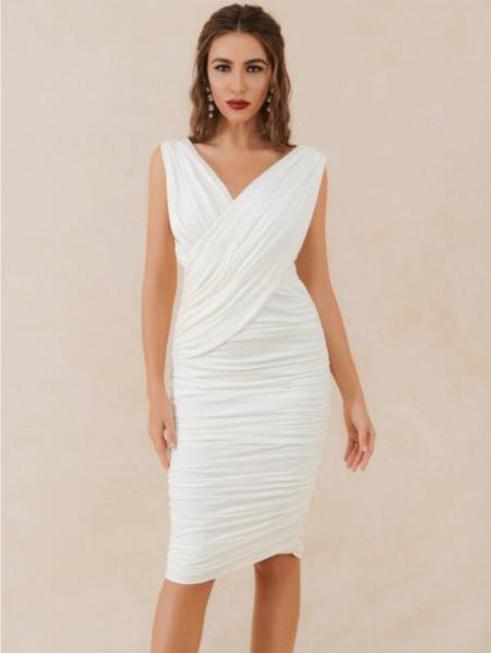 Mallabet Sukienka Biała Koktajlowa