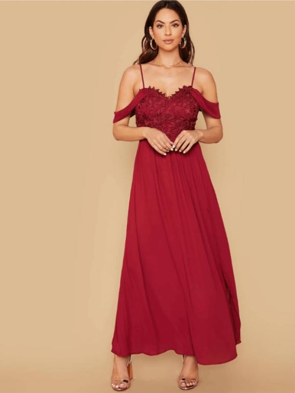 Secret Wish Boutique Sukienka Bordowa Koronkowa z Opadającymi Ramiączkami Maxi (3)
