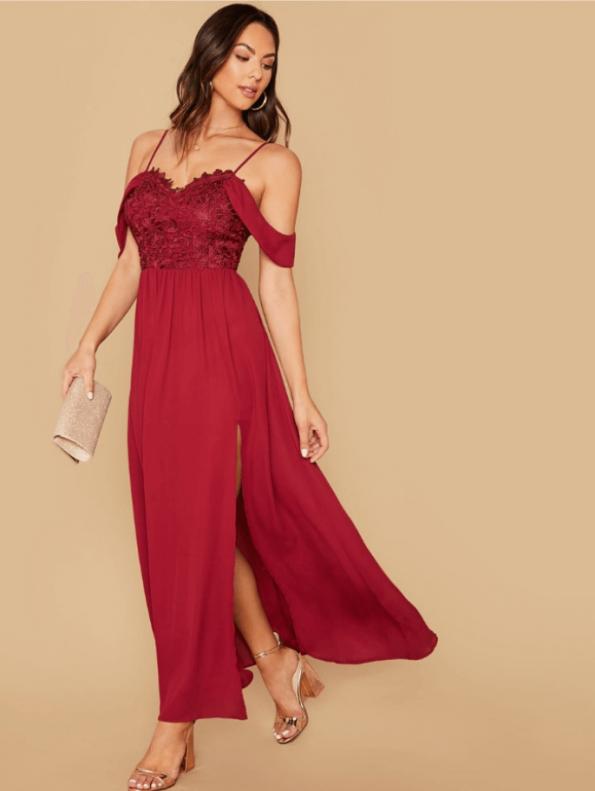 Secret Wish Boutique Sukienka Bordowa Koronkowa z Opadającymi Ramiączkami Maxi (4)