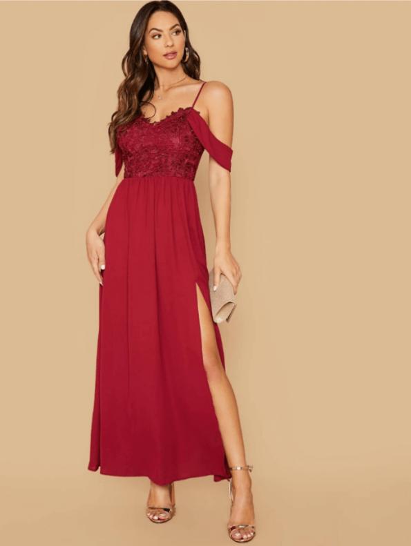 Mattari Sukienka Bordowa Koronkowa