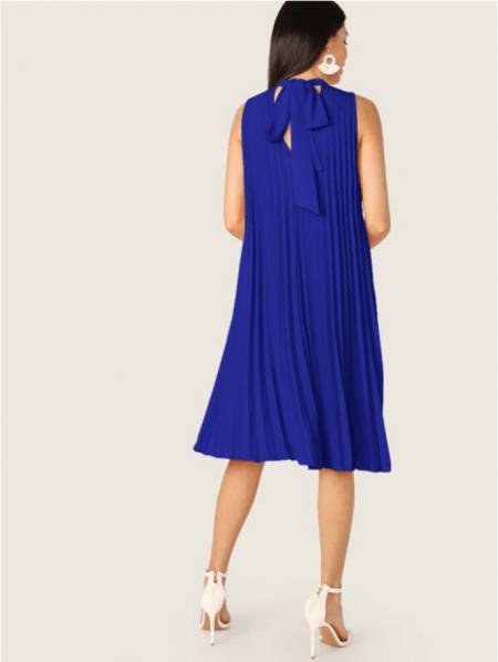 Paries Sukienka Kobaltowa Plisowana