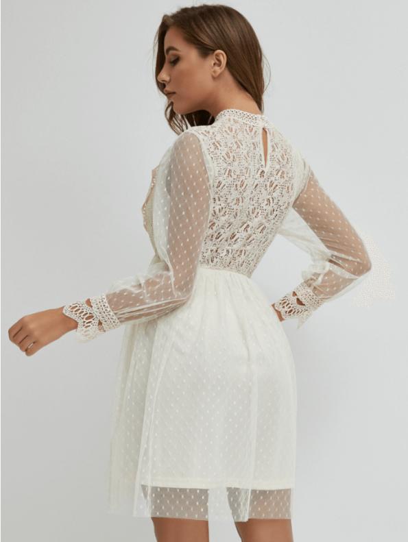 Secret Wish Boutique Sukienka Koronkowa Biała z Długim Rękawem Mini (1)